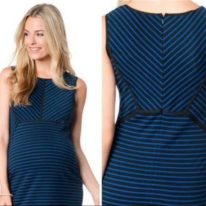 Motherhood Maternity Striped Blue Dress